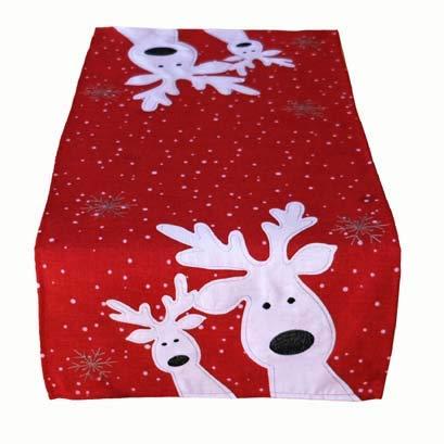 Kamaca Serie LUSTIGE Elche mit neugierigen Elchen und Schneeflocken Filigrane Stickerei Eyecatcher Winter Weihnachten (rot, 40x85 cm)