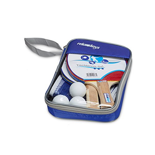 Find Discount Relaxdays Table Tennis Set 3 Stars with Ping Pong Padles, Net & 3 Ping Pong Balls in a Transport Bag, 26 x 16.5 x 3.7 cm, Table Tennis Game Accessories Pack, Blue