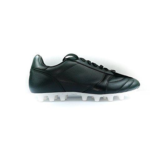 Danese - Clásico/Artificial Grass Botas Fútbol Artesanales Negro/Blanco Made in Italy - Cow Leather Mis 41.5