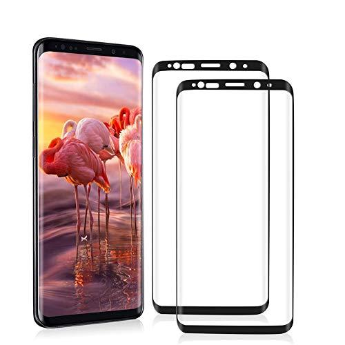 Galaxy S8 Vetro Temperato Pellicola Protettiva [2 Pezzi] [Senza Bolle] [Trasparente HD] [Facile Installazione] Protezione Schermo per Samsung Galaxy S8 (Nero)