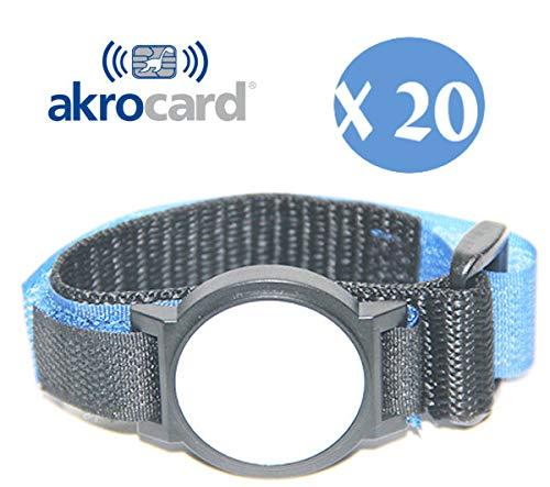 akrocard Pack 20 Unidades -Pulsera con TECNOLOGIA NFC 1k (ISO 14443 A/B) a 13,56mHz - Nylon Azul - resisten Perfectamente la Humedad, el Agua o el Sudor.