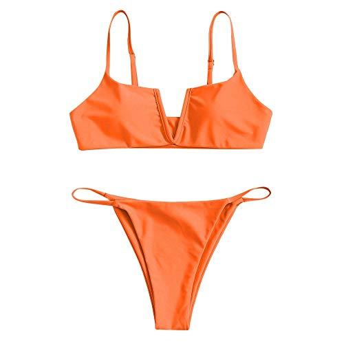 ZAFUL Damen Bikini Set Zweiteilige Badeanzug V-förmiger High Cut Bralette Sexy Swimsuit Sommer (Orange-A, S)