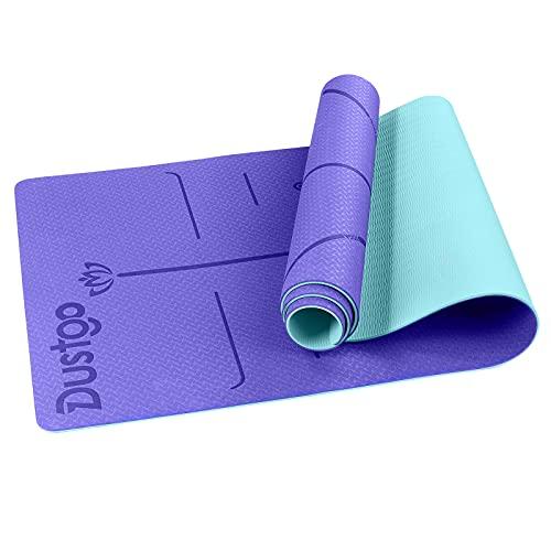 Dustgo Yogamatte, Gymnastikmatte, Jogamatte rutschfest für Fitness Pilates & Gymnastik mit Tragegurt Maße 183cm Länge 61cm Breite Fitnessmatte,Sportmatte