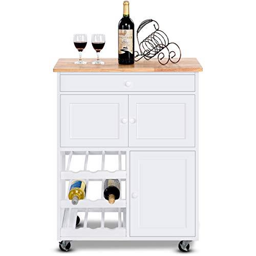 COSTWAY Carrello da Cucina Carrello con Cassetto Portabottiglie Tre Ante, in Legno di Pino e MDF, Bianco, 67 x 37 x 86,5 cm