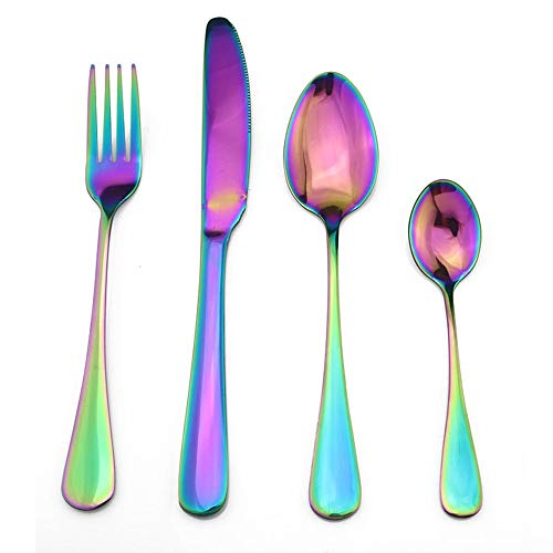 24 unids noble azul de acero inoxidable conjunto de cubiertos de vajilla Cubiertos Conjunto Cuchillo Forks Coffee Spoons Box Black Golden SilaterWare Set