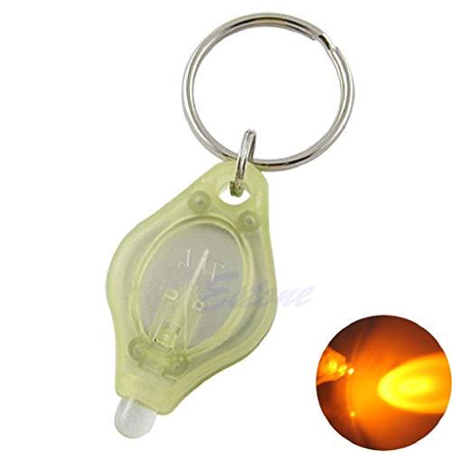 ZIRAN Mini Micro Super Brillante Luz Led Linterna de Camping Antorcha Llavero Llavero Lámpara Llavero Pequeña Linterna Amarillo