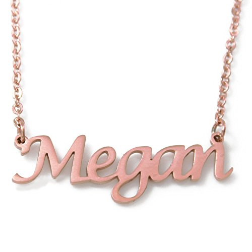Zacria Megan Name Necklace 18ct Rose Gold Plated Personalized Dainty Necklace - Jewelry Gift Women, Girlfriend, Mother, Sister, Friend, Gift Bag & Box