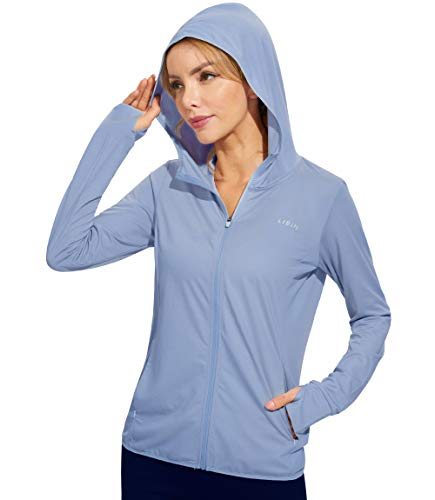Libin Women's Full Zip UPF 50+ Sun Protection Hoodie Jacket Long Sleeve Sun Shirt Hiking Outdoor Performance with Pockets Lavender Blue M