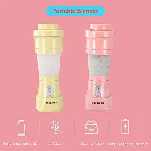 ACAMPTAR Batidora de Jugo Plegable Exprimidor USB PortáTil Taza MáQuina de Mezcla Batidos Alimentos para BebéS Mezclador de Frutas Herramienta de Cocina Amarillo Rosa