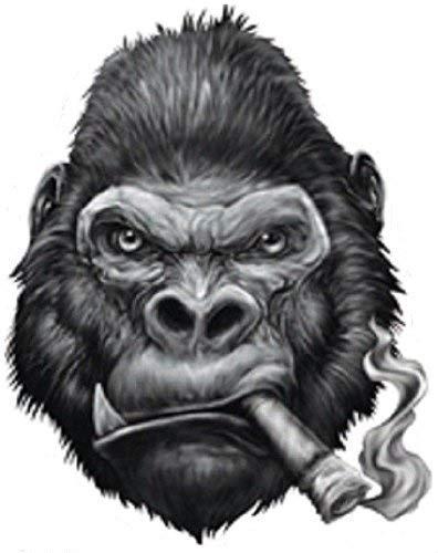 Price comparison product image GORILLA SMOKING CIGAR BUMPER STICKER TOOLBOX STICKER LAPTOP STICKER DIE CUT