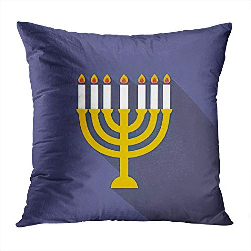 Hanukkah Throw Pillow Cover,Menorah for Hanukkah Candles Chanukah,Cushion Cases Shams for Indoor Outdoor Home Decor Living Room Bedroom Office Cotton Pillowcase,18'x18'