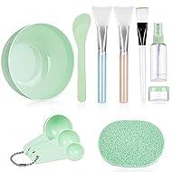 Face Mask Mixing Bowl Set, Anezus 11 Pcs DIY Facemask Mixing Tool Kit with Facial Mask Bowl Stick Spatula Silicone Brush Spray Bottle Puff Soaking Bottle Gauges