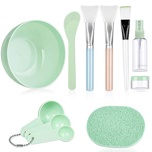 Face Mask Mixing Bowl Set, DIY Facemask Mixing Tool Kit with Facial Mask Bowl Stick Spatula Silicone Brush Spray Bottle Puff Soaking Bottle Gauges
