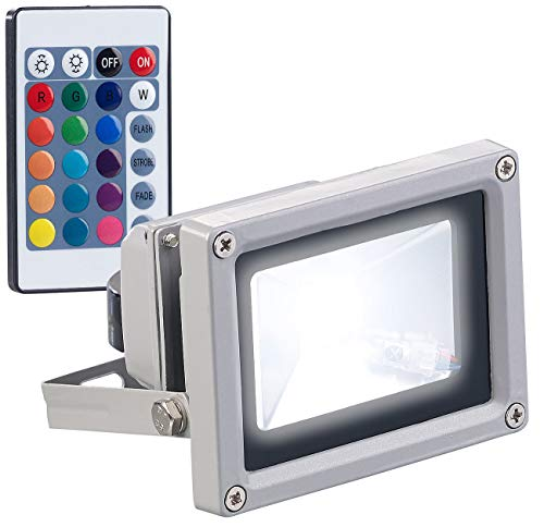 Luminea LED Strahler Farbwechsel: Wetterfester RGB-LED-Fluter mit Fernbedienung, 10 Watt, 800 lm, IP65 (LED Strahler farbig)