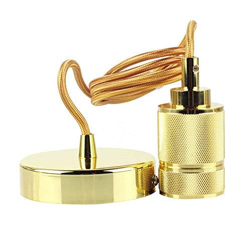 MKJZMD Vintage gevlochten Flex hanglamp gouden fitting plafond roos hanglamp Retro industriële stijl E27 gloeilamp met 150 cm in hoogte verstelbaar draad