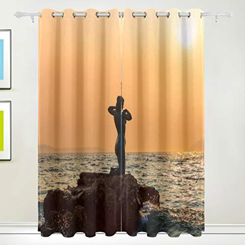 MOBEITI Cortinas Opacas Térmicas Aislantes Frío y Calor de Salón Dormitorio Moderno,Podgora Croacia 29 de Agosto de 2017 Sirena,con Ojales 2 Piezas 117 * 183cm