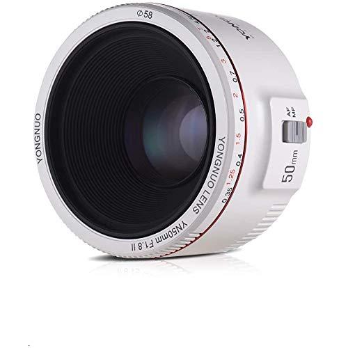 YONGNUO YN50MM F1.8 II AF/MF 0.35M Obiettivo Prime Standard a distanza di messa a fuoco bianco per fotocamera DSLR Canon + Diffusore NAMVO