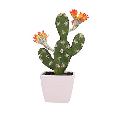 HINK-Home Cactus Artificial de Cactus Artificial de imitación de Cactus Verde en Maceta para decoración del hogar, decoración del hogar, Productos de Pascua, D, L