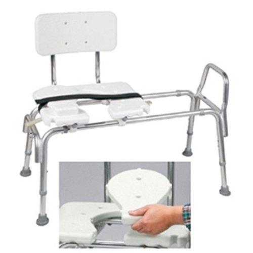 DMI Tub Transfer Bench and Shower Chair with Non Slip Aluminum Body, Adjustable Seat Height and Cut Out Access, Holds Weight up to 400 Lbs, Bath and Shower Safety, Transfer Bench -  522-1734-1900