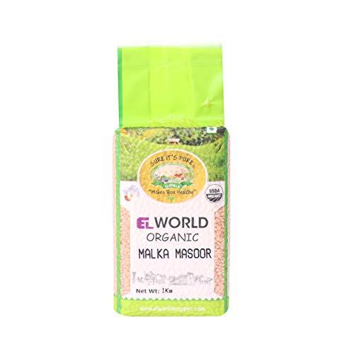 ELWORLD AGRO & ORGANIC FOOD PRODUCTS Organic Red Lentil Malka Masoor Whole (1 Kg)