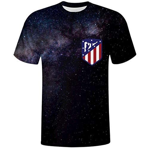EUENEYI - Camiseta de Manga Corta para Hombre, diseño del Equipo de fútbol del Atlético de Madrid Blanco Blanco XXL