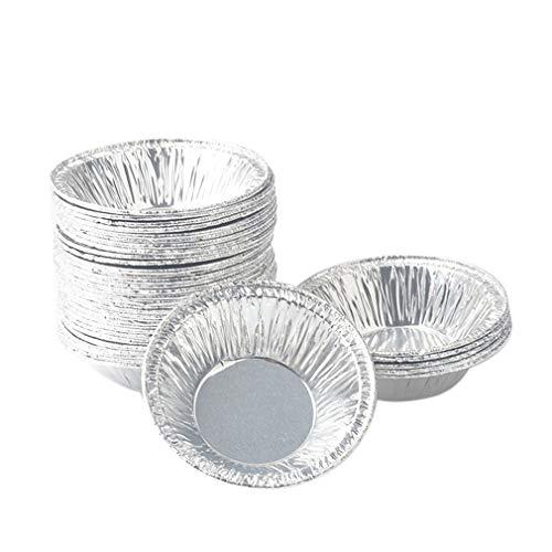 HehiFRlark - Lote de 250 tazas para tarta antiadherentes, lisas de aluminio, para hacer huevos desechables, taza de cocción, color plateado
