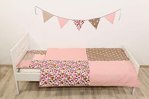 ULLENBOOM ® Kinderbettwäsche 100 x 135 cm Sand Eichhörnchen (Made in EU) - mit Kissenbezug (40x60 cm) und Deckenbezug (100x135 cm), Kinder- & Baby Bettwäsche aus Baumwolle, Design: Patchwork