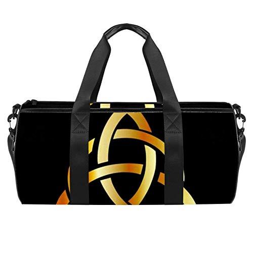 Anna Cowper Golden Triquetra Celtic Cross Duffel Shoulder Carry Bag Canvas Travel Bag for Gym Sports Dance Travel Weekender