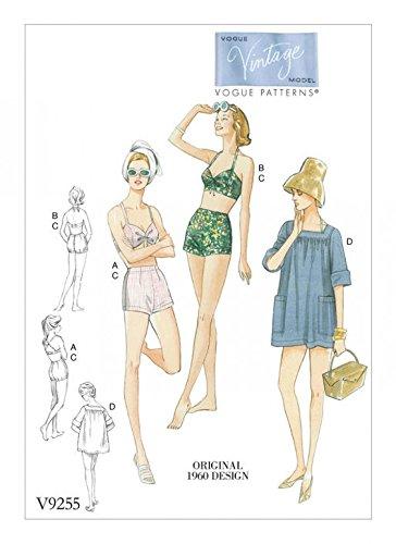 Vogue Damen Schnittmuster 9255 1960er Vintage Stil Bikinis & quadratischer Ausschnitt Cover up