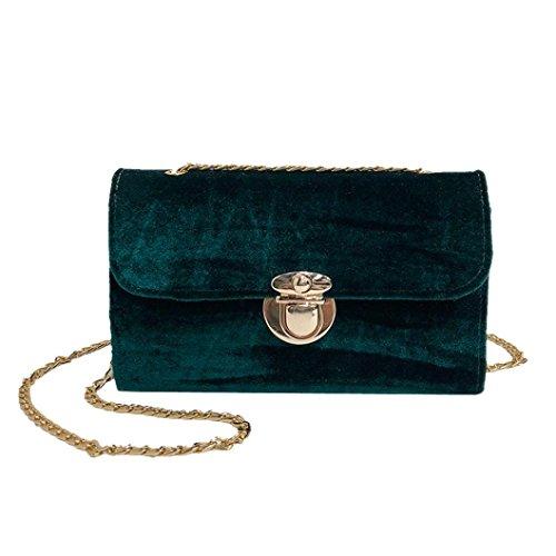 manadlian Damen Elegant Samt Schultertasche, Umhängetasche Frauen Retro Gold Samt Tasche Schultertasche Messenger Bags Tote Handtasche (Grün)