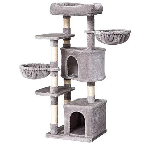 IBUYKE Kratzbaum 135cm, Kletterbaum mit Sisal Kratzbäumen, Katzenbaum mit Großer Plattform 2 Katzenhöhlen und Körbe, Hellgrau CT011W