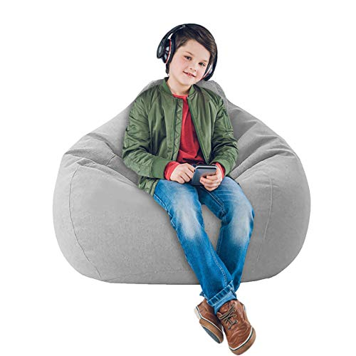 Soft Bean Bags Sofa Chairs Cover for Adults, Teens and Kids Indoor Outdoor, Memory Foam Furniture for Garden Lounge Dorm Room (Grey, 31.5' x 27.6'')
