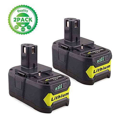 2X FUNMALL 18V 5.0Ah Litio Batería Reemplazo para Ryobi Batería P108 P107 P122 P104 P105 P102 P103 RB18L50 RB18L40 RB18L25 RB18L15 RB18L13 con indicador LED