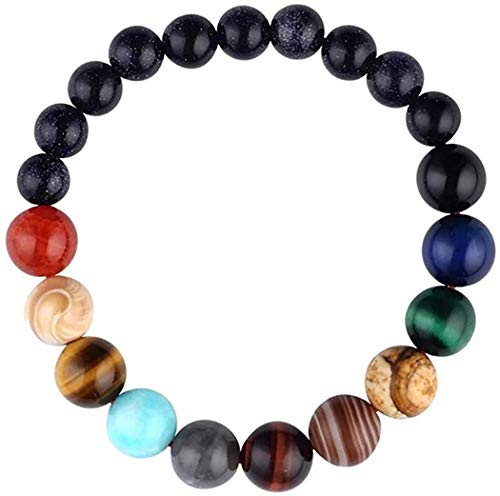 Comelyjewel Black Lava Stone 7 Chakra Bracelets Rock Bead Elastic Natural Stones Gemstones Yoga Beads Bracelets for Men Women Girls Jewelry