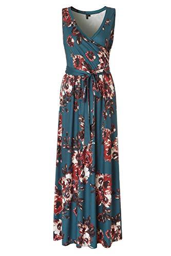 Zattcas Womens Bohemian Printed Wrap Bodice Sleeveless Crossover Maxi Dress,Teal,Small