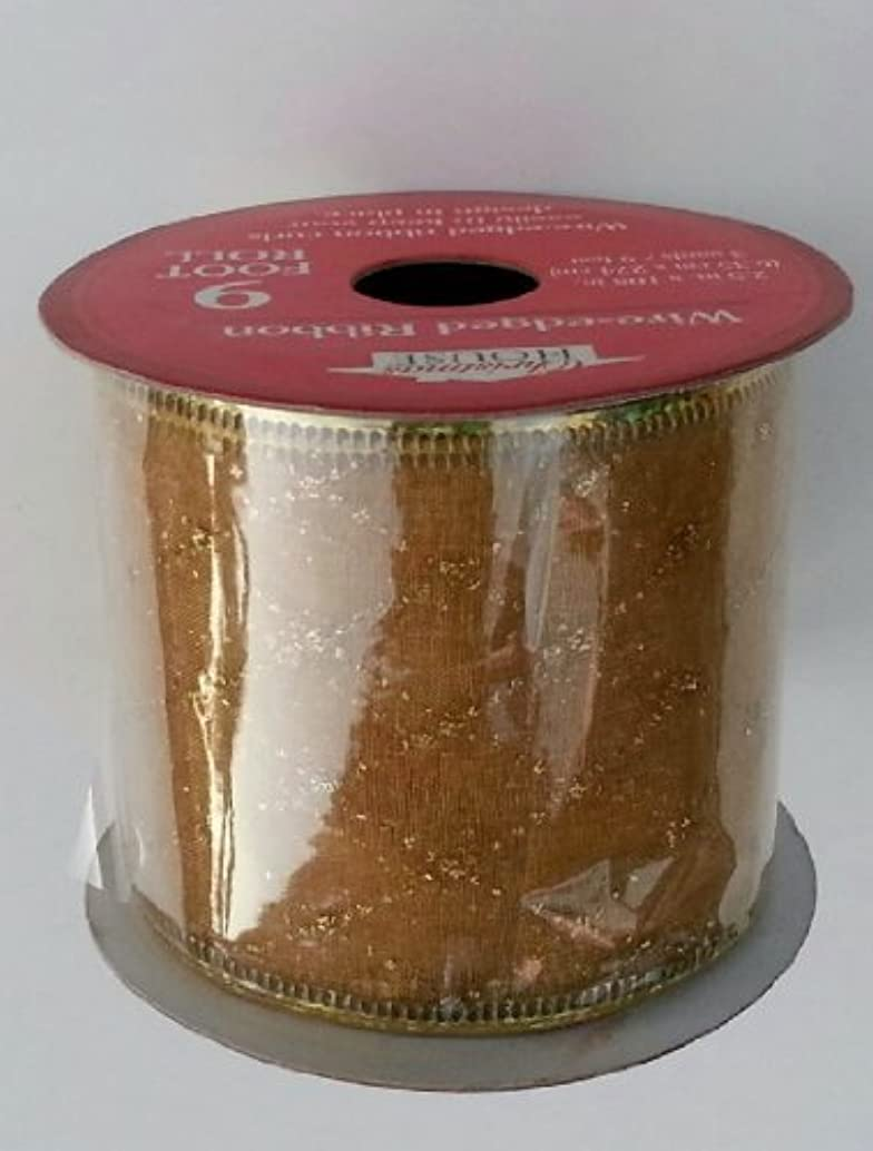 Christmas Gold Plaid Wire Edged Ribbon 9 Feet