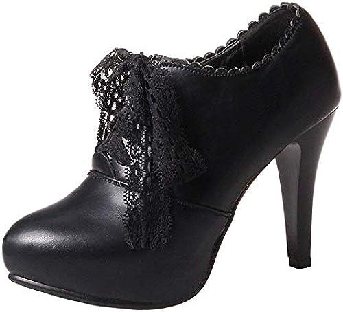 ZHRUI Damen Komfort Komfort Komfort Stiletto Schnürschuhe (36 AS, Schwarz  Alle Produkte erhalten bis zu 34% Rabatt