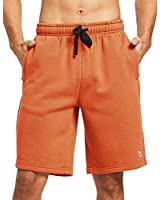 BALEAF Men's Fleece Gym Shorts Cotton 9 Inches with Zipper Pockets for Home Fitness Jogger Casual Orange L