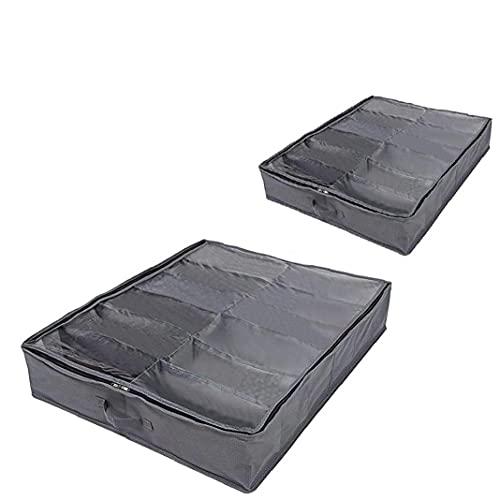 YepYes 2 Piezas De Zapatos Organizador, Zapato De Equipaje, Bolsa De Almacenamiento Transparente, Bajo Cajón Inferior del Zapato Bolsa con Compartimentos De La Cubierta Superior 12