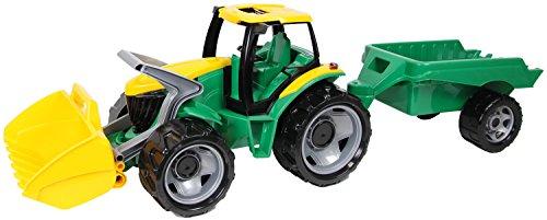 Lena 02123 Giga Trucks Traktor mit Schaufel und Anhänger grün, Starke Riesen Spielfahrzeug Trecker mit Ladeschaufel 62 cm und Hänger ca. 43 cm, Spielzeugtraktor Set für Kinder ab 3