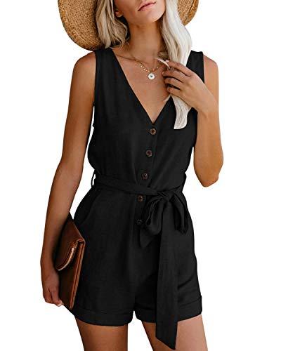 CNFIO Monos Cortos Mujer Verano Vestir Mujer Elegante Petos Mujer Verano Trabajos Pantalones Cortos A-Negro...