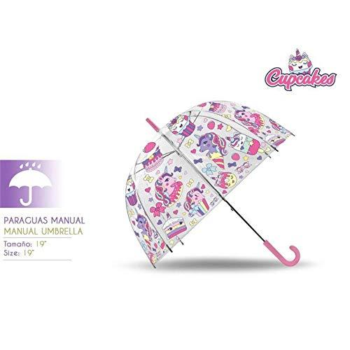 Kids paraplu transparant klok 48 cm handmatige collectie cupcake camping wandelen kinderen jongeren unisex meerkleurig (meerkleurig), eenheidsmaat