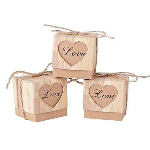 (5*5*5cm) 100pcs Boîte à Dragées Bonbonières Coeur Vintage Papier Kraft avec Corde Décoration...