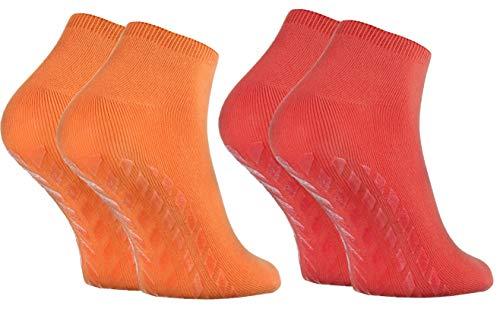 Rainbow Socks - Hombre Mujer Calcetines Cortos Antideslizantes de Bambu - 2 Pares - Naranja Rojo - Talla 36-38