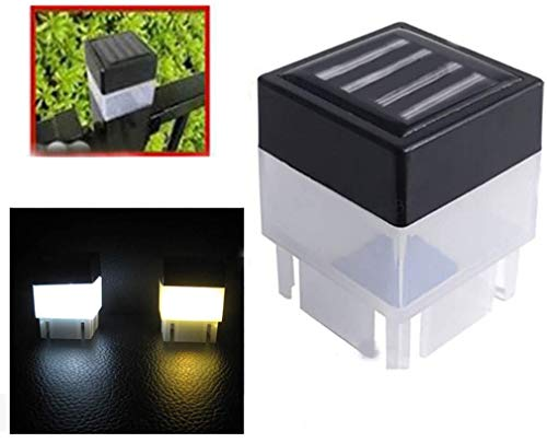 4 - Pack Solar Light,Solar Powered Outdoor LED Square Fence Light Garden Landscape Post Deck Lamp LED Step Light,Illuminates Stairs Patio Deck Yard Garden Outsides,Path,Fence Post lamp (Warm Yellow)