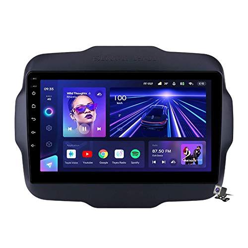 W-bgzsj Sat Android 10.0 Coche Estéreo GPS, Radio para Jeep Renegade 2016-2020 Navegación de la Cabeza de 9 Pulgadas Player MP5 Multimedia Player Video Receptor con 4G / 5G WiFi DSP RDS FM MirrorLink