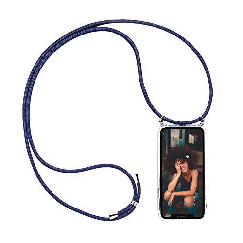 Verco Funda con Cuerda para Samsung Galaxy S7 Edge, Carcasa Transparente TPU Suave Silicona Case para Galaxy S7 Edge con Correa Colgante, [Cordon para Llevar en el Cuello], Azul