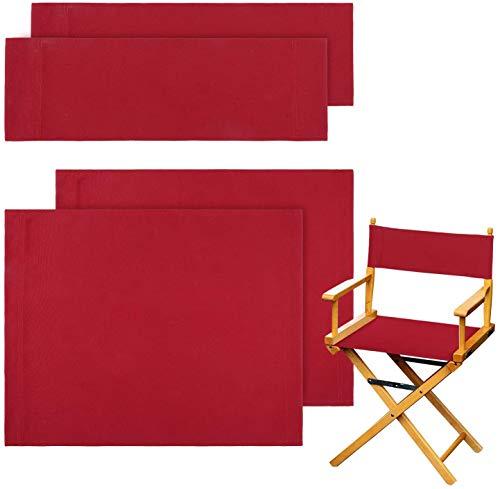 STAY GENT 2 juegos Directores Sillas Reemplazo Lona Asiento Taburete Directors Chair Replacement Covers , Rojo