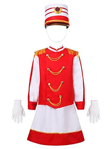 Alvivi Disfraz de Majorette Nia para Fiesta Navidad Carnaval Conjuntos de Disfraz de Soldado Chaqueta+Falda/Pantalnes Largos+Gorro Tipo B Rojo 13-14 aos