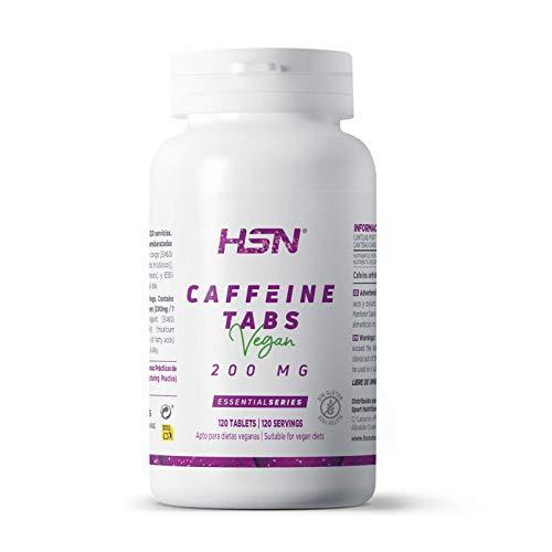 Cafeína Anhidra de HSN | 200mg | Suministro para 4 Meses | Efecto Rápido | Estimulante y Activador | Aumenta la Concentración y Rendimiento Deportivo | Vegano, Sin Lactosa, Sin Gluten, 120 Tabletas